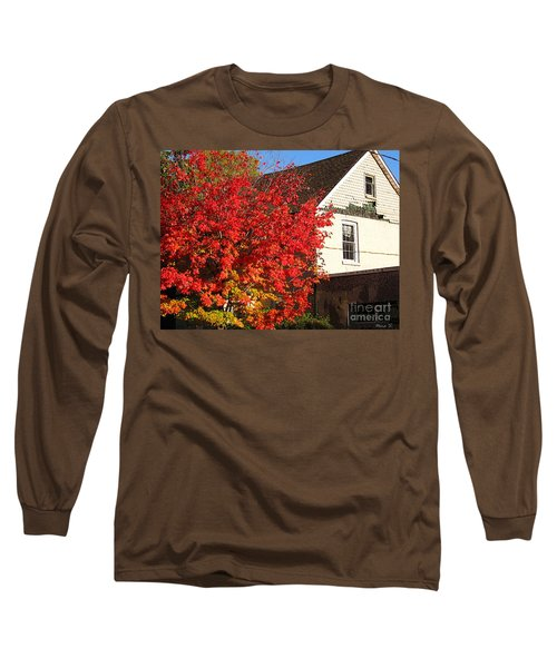 Long Sleeve T-Shirt featuring the photograph Flaming Fall Colours On Farm House by Nina Silver