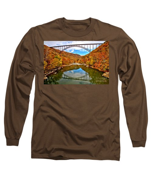 Flaming Fall Foliage At New River Gorge Long Sleeve T-Shirt
