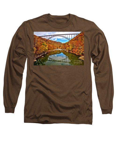 Flaming Fall Foliage At New River Gorge Long Sleeve T-Shirt