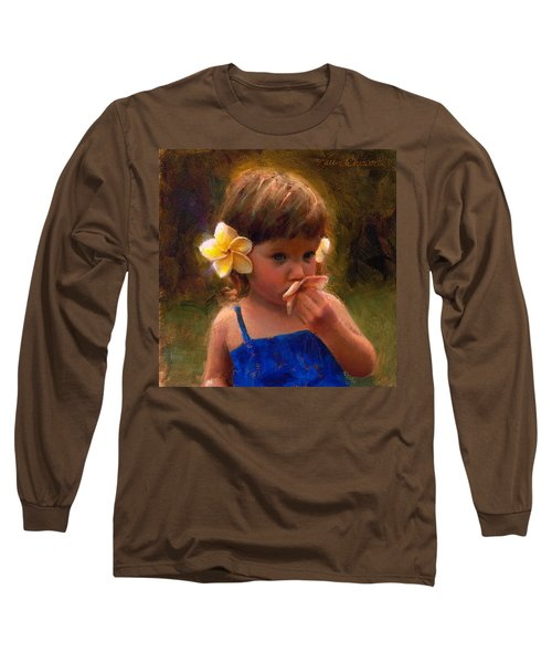 Flower Girl - Tropical Portrait With Plumeria Flowers Long Sleeve T-Shirt by Karen Whitworth