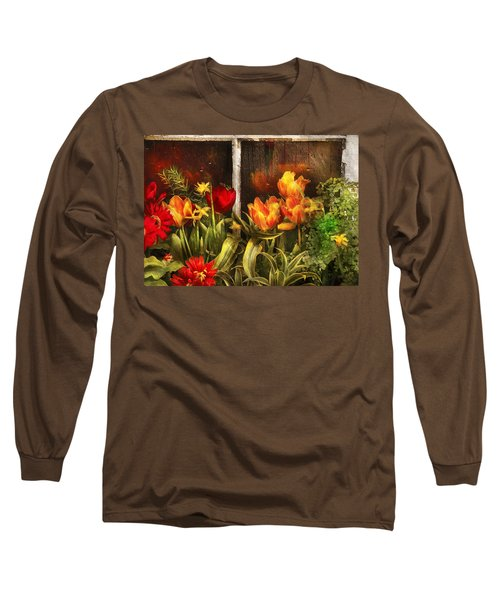 Flower - Tulip - Tulips In A Window Long Sleeve T-Shirt
