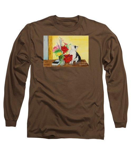 Fluff Smells The Lavender- Painting Long Sleeve T-Shirt by Veronica Rickard