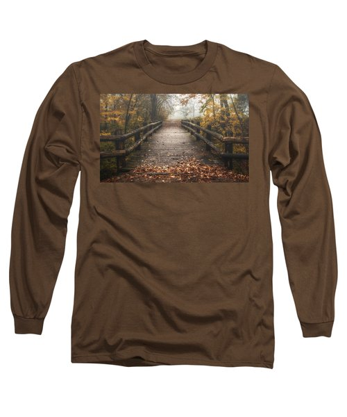 Foggy Lake Park Footbridge Long Sleeve T-Shirt