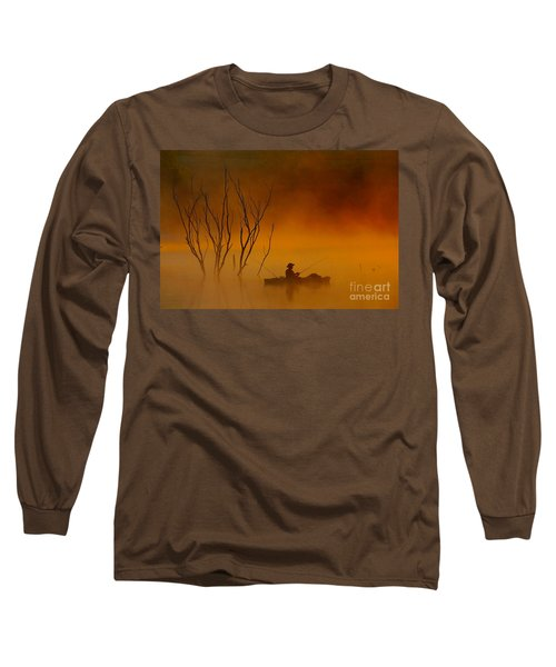 Foggy Morning Fisherman Long Sleeve T-Shirt