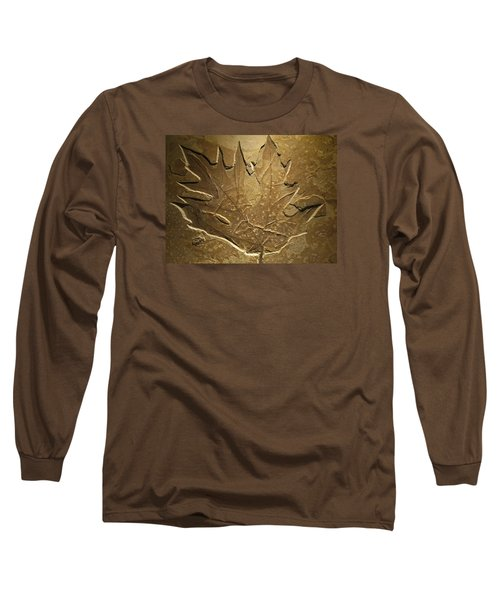 Fossilized Maple Leaf Long Sleeve T-Shirt by Connie Fox