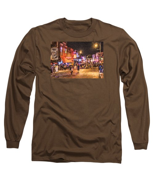 Friday Night On Beale Long Sleeve T-Shirt by Liz Leyden
