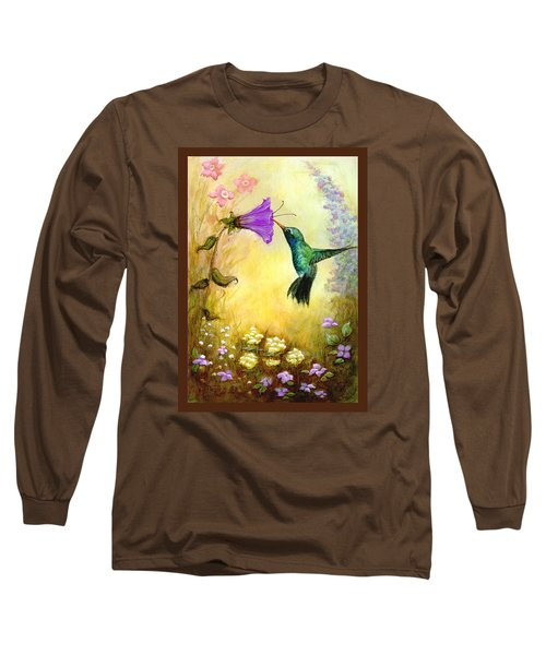 Long Sleeve T-Shirt featuring the mixed media Garden Guest In Brown by Terry Webb Harshman