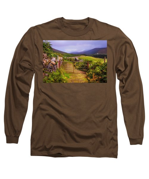 Gates On The Road. Wicklow Hills. Ireland Long Sleeve T-Shirt by Jenny Rainbow