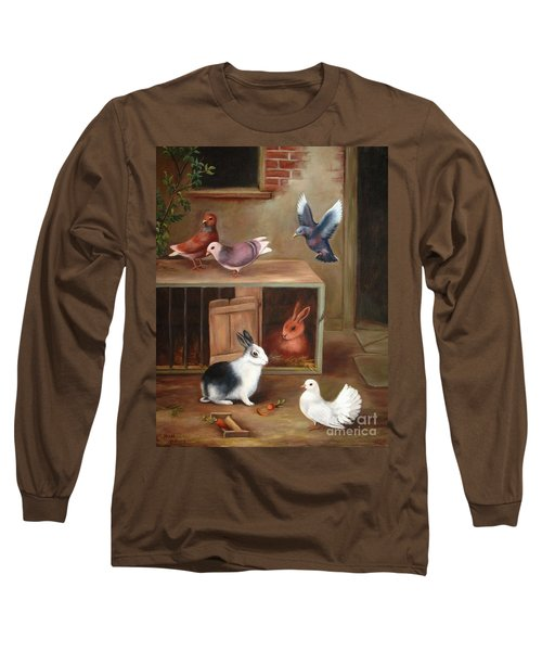 Long Sleeve T-Shirt featuring the painting Gentle Creatures by Hazel Holland