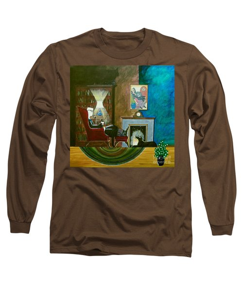 Gentleman Sitting In Wingback Chair Enjoying A Brandy Long Sleeve T-Shirt