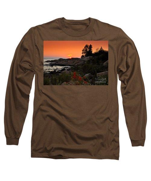 Georgian Bay Sunset Long Sleeve T-Shirt by Les Palenik