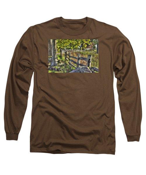Long Sleeve T-Shirt featuring the photograph Gettysburg At Rest - Late Summer Along The J. Weikert Farm Lane by Michael Mazaika