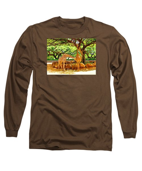 Giraffes Long Sleeve T-Shirt by Oleg Zavarzin