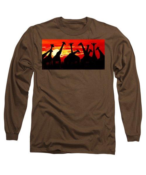 Giraffes Sunset Africa Serengeti Long Sleeve T-Shirt