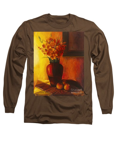 Gladioli Red Long Sleeve T-Shirt by Marlene Book