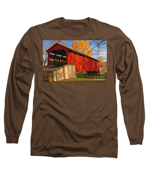 Gold Above The Poole Forge Covered Bridge Long Sleeve T-Shirt