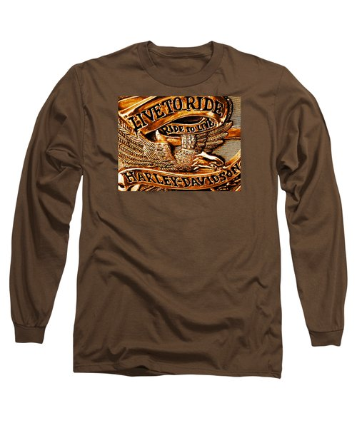 Golden Harley Davidson Logo Long Sleeve T-Shirt by Chris Berry