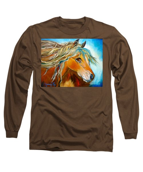 Long Sleeve T-Shirt featuring the painting Golden Horse by Jenny Lee