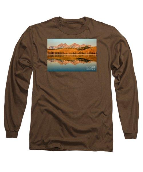 Golden Mountains  Reflection Long Sleeve T-Shirt by Robert Bales