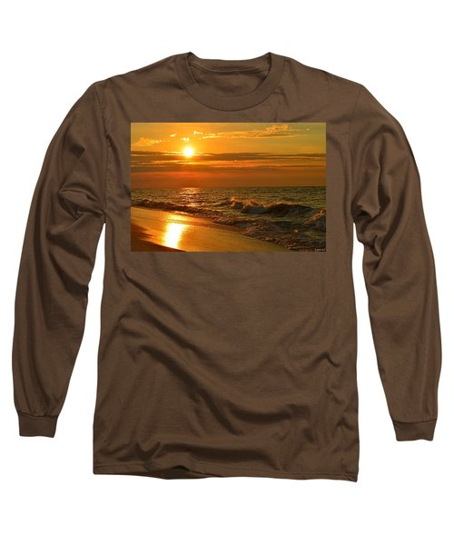 Golden Sunrise Colors With Waves And Horizon Clouds On Navarre Beach Long Sleeve T-Shirt by Jeff at JSJ Photography