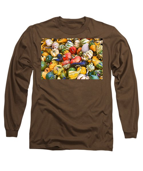 Gourds And Pumpkins At The Farmers Market Long Sleeve T-Shirt by Peggy Collins