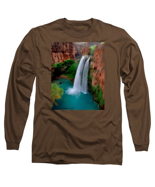 Long Sleeve T-Shirt featuring the painting Grand Canyon Waterfalls by Bruce Nutting