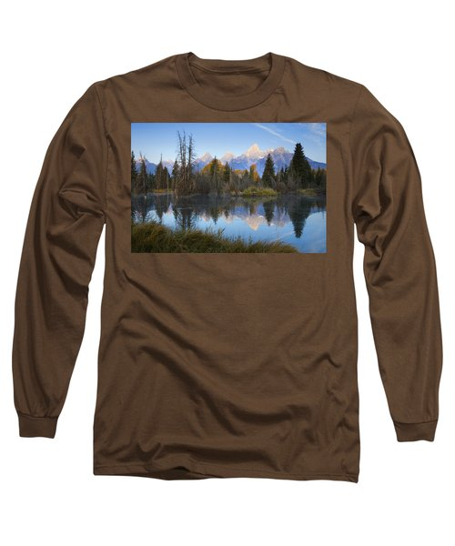 Grand Teton Morning Reflection Long Sleeve T-Shirt by Sonya Lang