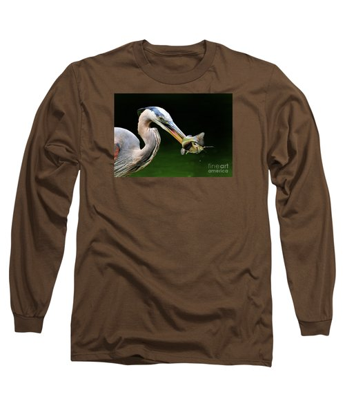 Long Sleeve T-Shirt featuring the photograph Great Blue Heron And The Catfish by Kathy Baccari