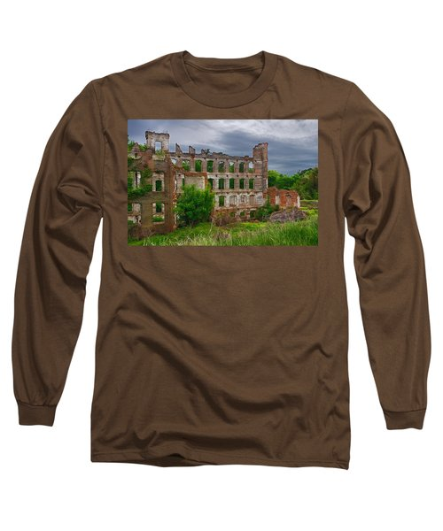 Great Falls Mill Ruins Long Sleeve T-Shirt by Priscilla Burgers