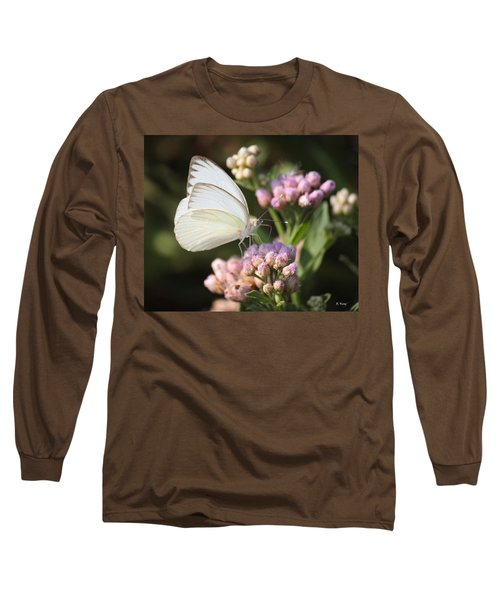 Great Southern White Butterfly On Pink Flowers Long Sleeve T-Shirt