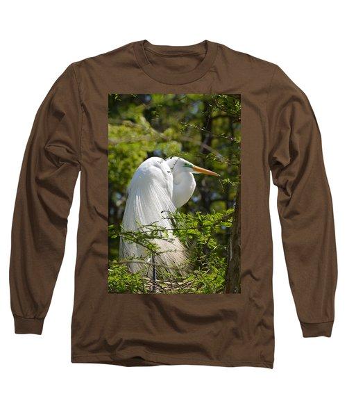 Great White Egret On Nest Long Sleeve T-Shirt