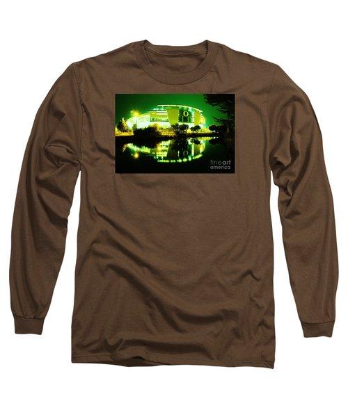 Green Power- Autzen At Night Long Sleeve T-Shirt by Michael Cross