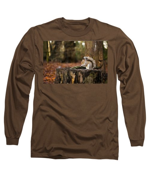 Grey Squirrel On A Stump Long Sleeve T-Shirt by Spikey Mouse Photography