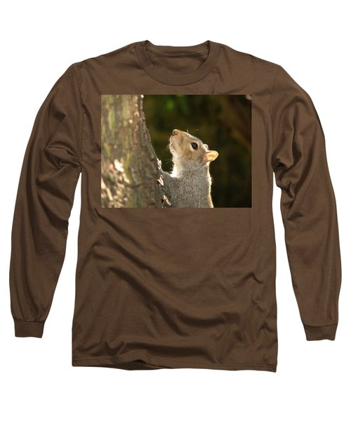 Grey Squirrel Long Sleeve T-Shirt by Ron Harpham