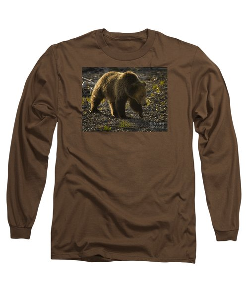 Grizzly Bear-signed-#4435 Long Sleeve T-Shirt by J L Woody Wooden