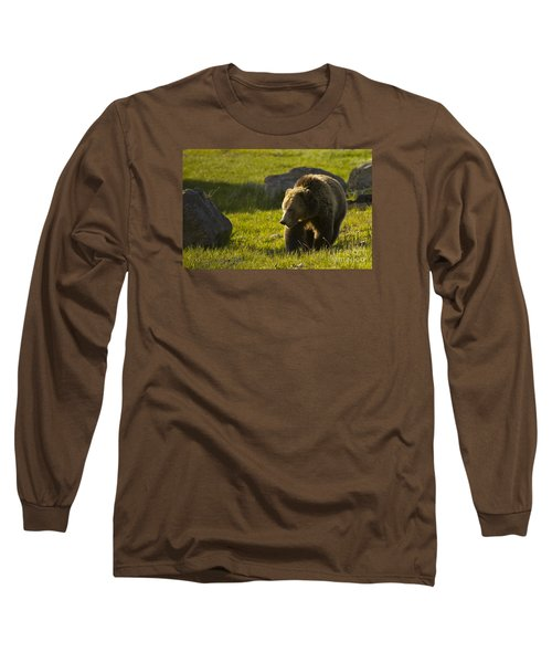 Grizzly Bear-signed-#4545 Long Sleeve T-Shirt by J L Woody Wooden