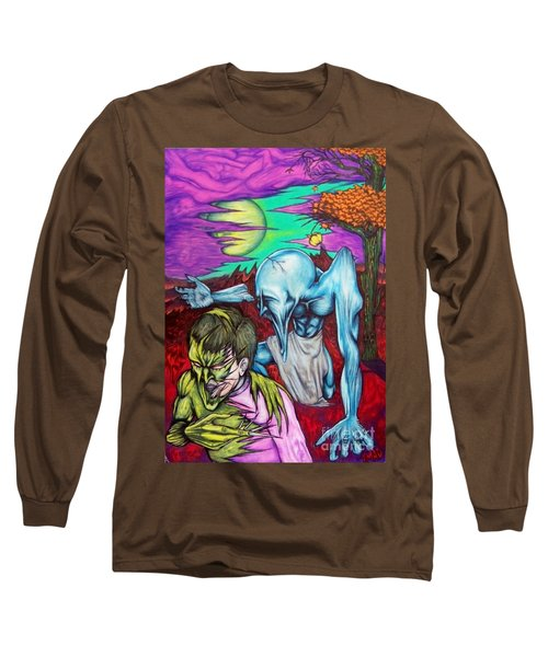 Long Sleeve T-Shirt featuring the drawing Growing Evils by Michael  TMAD Finney