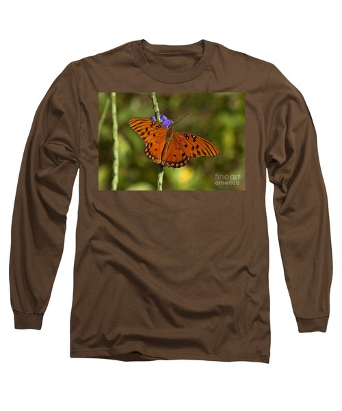 Long Sleeve T-Shirt featuring the photograph Gulf Fritillary Butterfly by Meg Rousher
