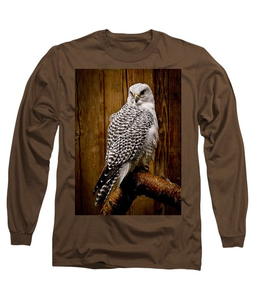 Gyrfalcon Perched Long Sleeve T-Shirt by Steve McKinzie