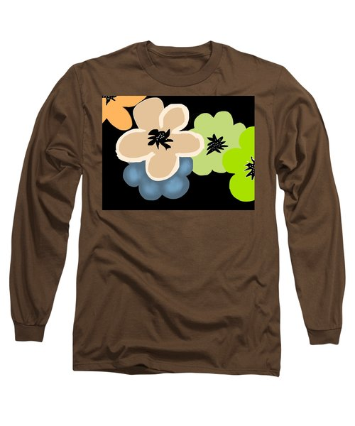 Long Sleeve T-Shirt featuring the digital art Happy Flowers Blue by Christine Fournier