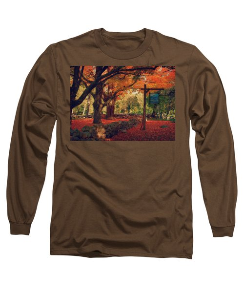 Long Sleeve T-Shirt featuring the photograph Hartwell Tavern Under Orange Fall Foliage by Jeff Folger