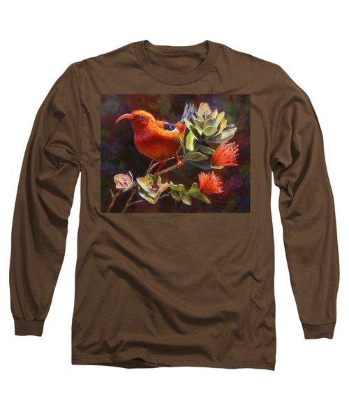 Hawaiian IIwi Bird And Ohia Lehua Flower Long Sleeve T-Shirt by Karen Whitworth