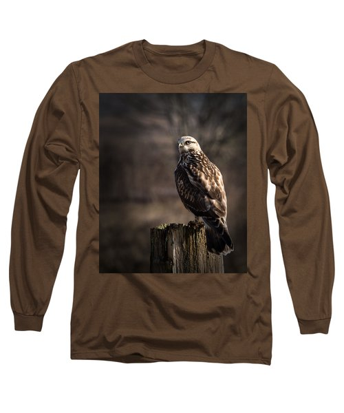 Hawk On A Post Long Sleeve T-Shirt by Randy Hall