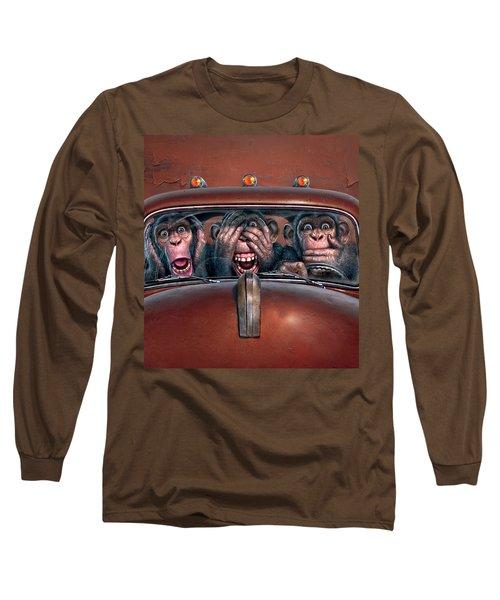 Hear No Evil See No Evil Speak No Evil Long Sleeve T-Shirt by Mark Fredrickson