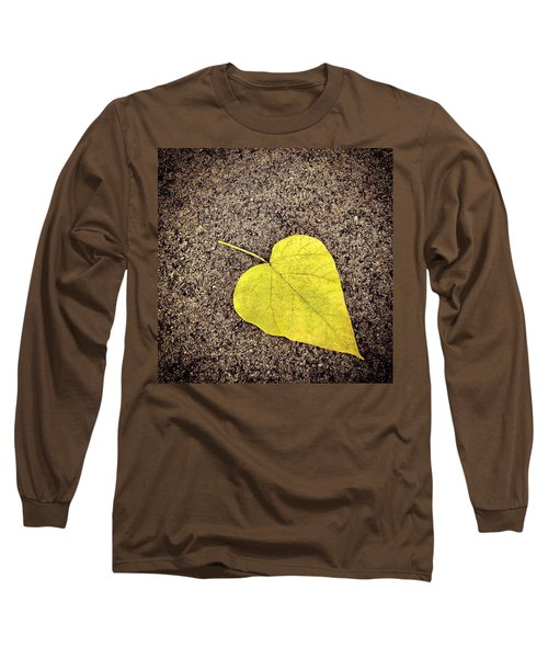 Heart Shaped Leaf On Pavement Long Sleeve T-Shirt