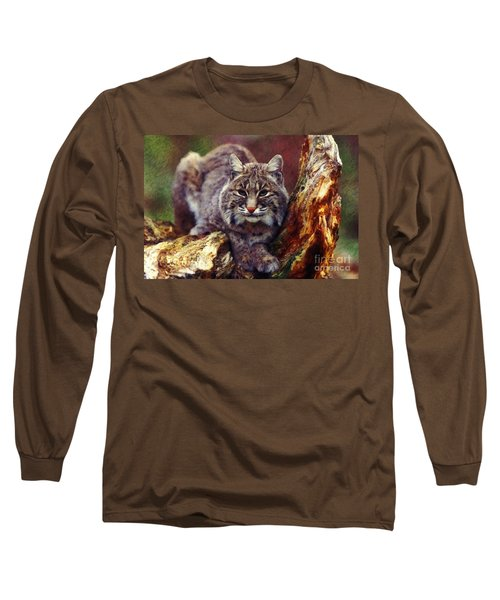 Long Sleeve T-Shirt featuring the digital art Here Kitty Kitty by Lianne Schneider