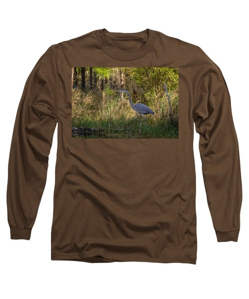 Heron On The Hunt Long Sleeve T-Shirt