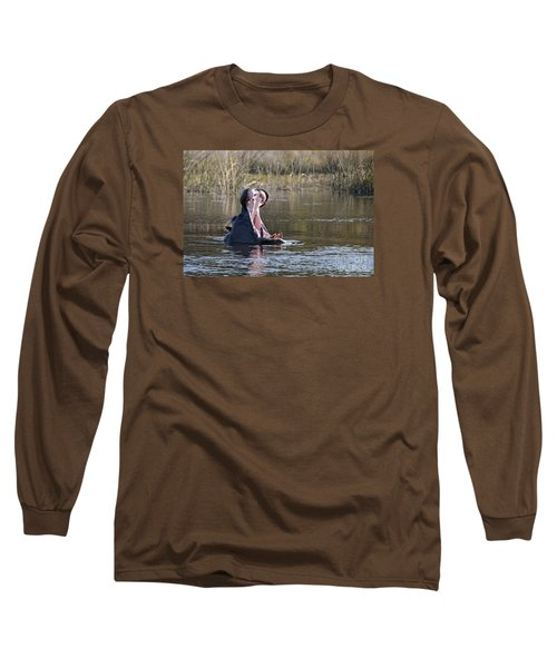 Long Sleeve T-Shirt featuring the photograph Hippo Yawning by Liz Leyden