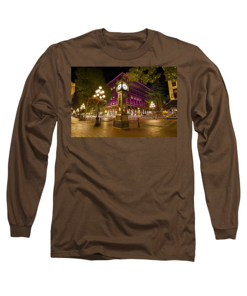 Long Sleeve T-Shirt featuring the photograph Historic Steam Clock In Gastown Vancouver Bc by JPLDesigns