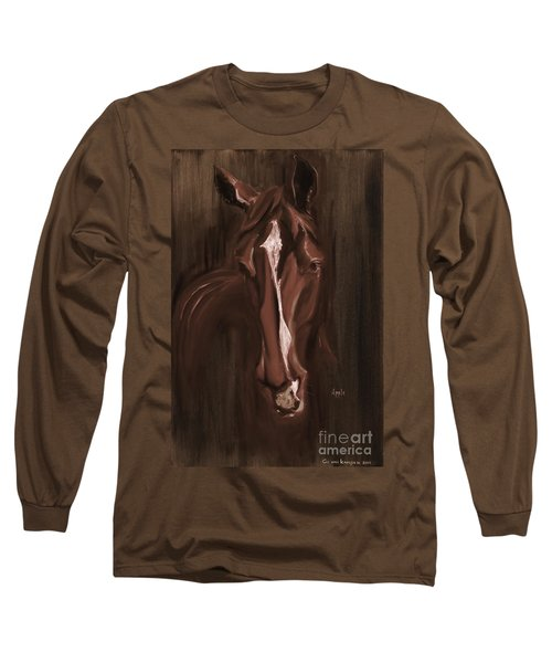 Horse Apple Warm Brown Long Sleeve T-Shirt